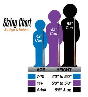 McDermott Youth Pool Cue Sizing Chart