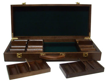 500pc Walnut Poker Chip Case